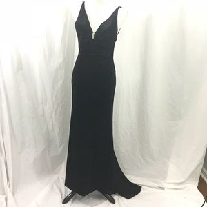 Tiffany Designs Black Velvet Slinky Formal Gown 4
